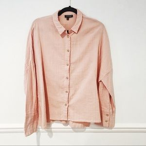 TOPSHOP Oversized Pastel Pink Button Down Blouse